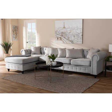Baxton Studio Luisa Traditional Grey Fabric Upholstered Chesterfield  Reversible Sectional Sofa
