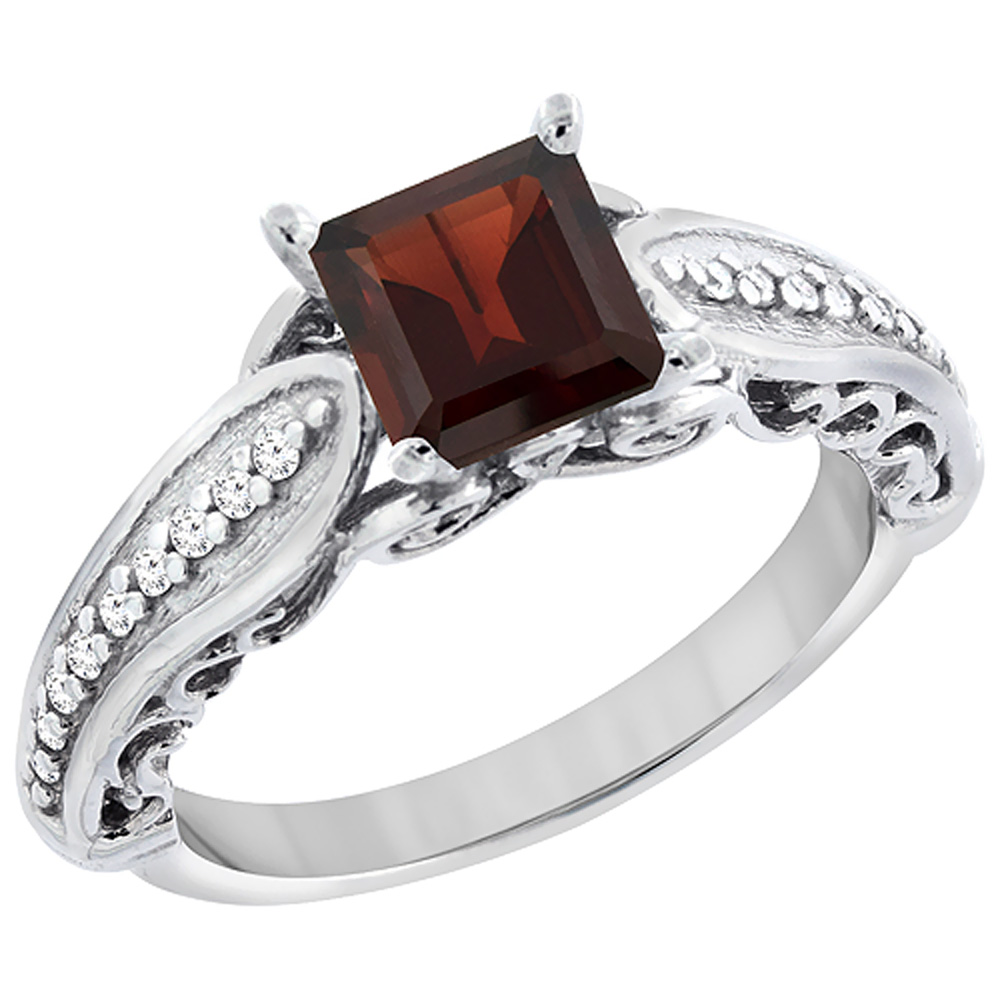 10K White Gold Natural Garnet Ring Square 8x8mm with Diamond Accents, sizes 5 10 by WorldJewels