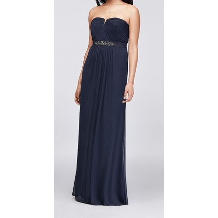 Adrianna Papell NEW Blue Women Size 14 Strapless Embellished Gown Dress