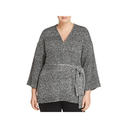 Eileen Fisher Womens Plus Organic Cotton Belted Wrap Coat Black -