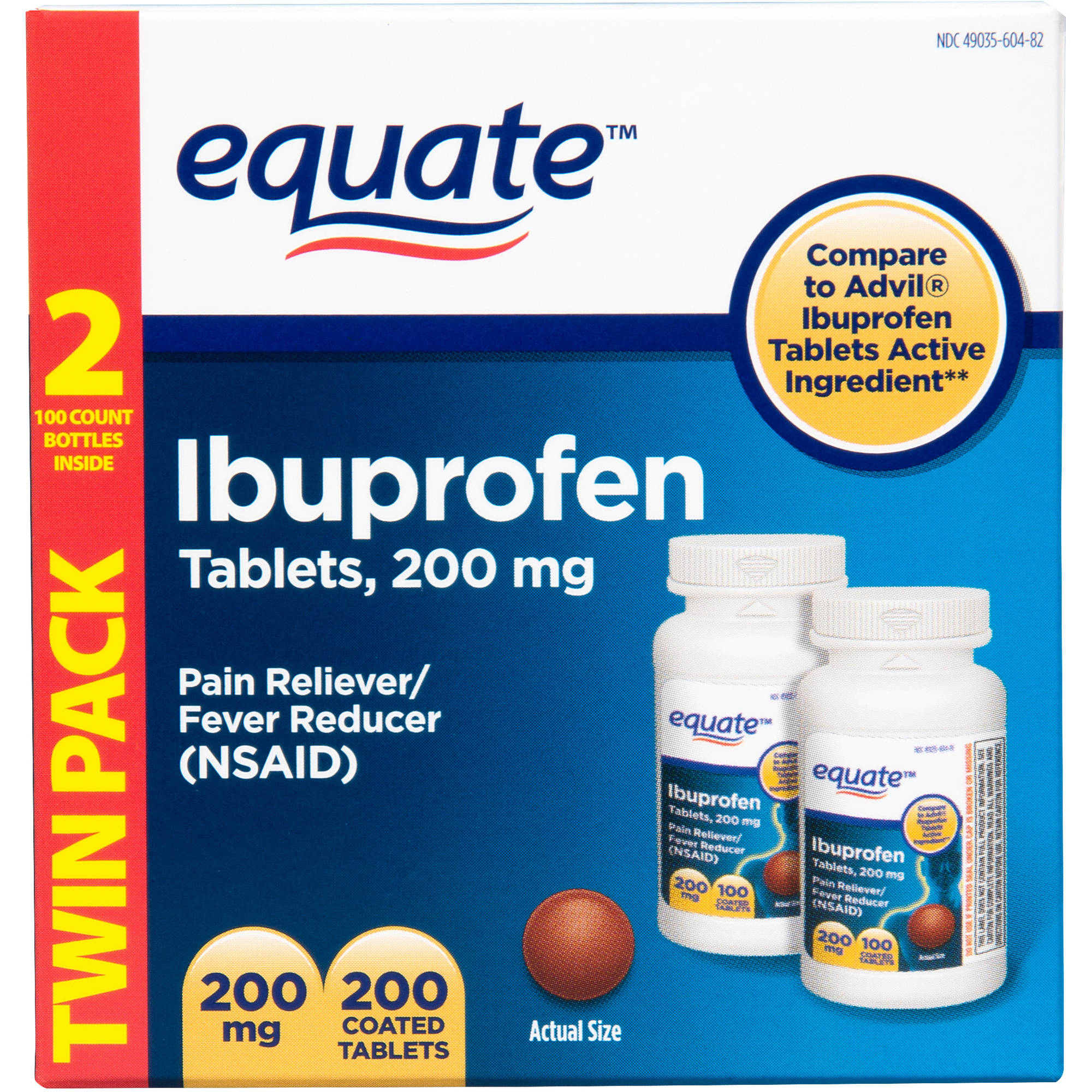 Equate Ibuprofen Tablets, 200mg - 2x 100ct