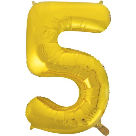 Smiley Face Foil Balloon - Foil Big Number Balloon, 5, 34 in, Gold, 1ct
