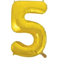 Foil Big Number Balloon, 5, 34 in, Gold, 1ct