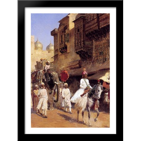 - Indian Prince And Parade Cermony 28x40 Large Black Wood Framed Print Art by Edwin Lord Weeks
