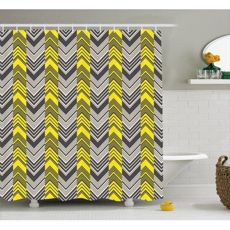Yellow And White Shower Curtain Herringbone Pattern With Angled Lines Geometric Chevron Zigzags Fabric