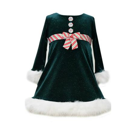 Bonnie Jean Little Girls Green Velour Peppermint Stripe