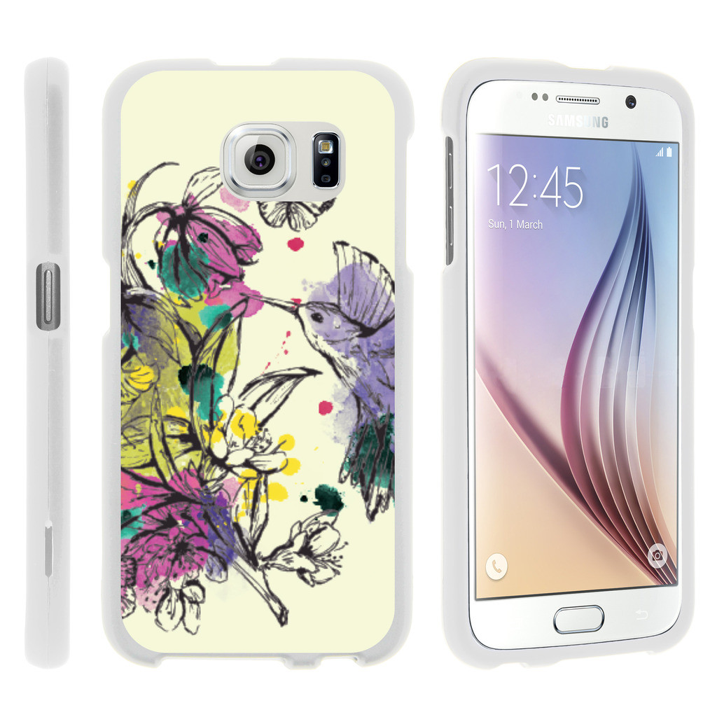 Samsung Galaxy S6 Edge G925, [SNAP SHELL][White] Hard White Plastic Case with Non Slip Matte Coating with Custom Designs - Hummingbird Flowers