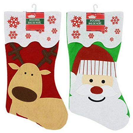 2 Pack: Christmas House Felt Christmas 'Santa and Reindeer' Character Stockings, 18 Inch - Felt Santa