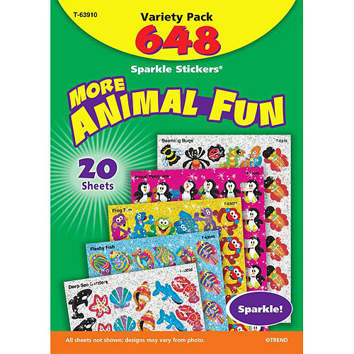 Trend Enterprises Animal Fun Sparkle Sticker Variety Pack, Pack of 648