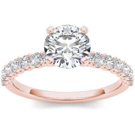 1 Carat T.W. Diamond Classic 14kt Rose Gold Engagement Ring ()
