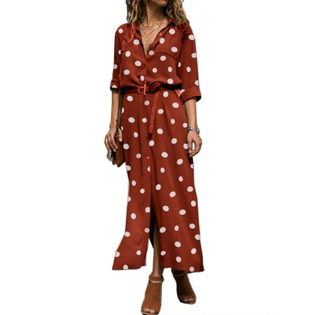 Women Long Sleeve Button Down Maxi Shirt Dress Polka Dot Dresses with Belt Slim Stylish V-Neck Autumn Winter Style Party Long Shirt Dress