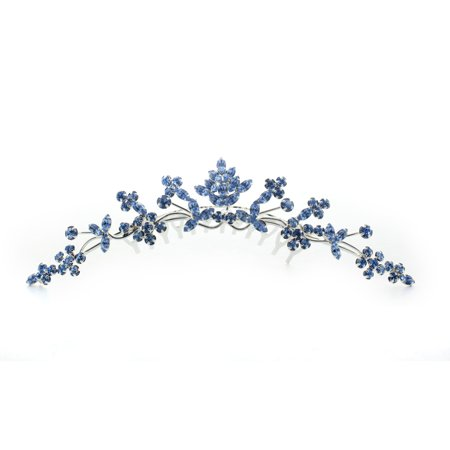 Kate Marie Rhinestone Tiara Hair Comb Crown in Blue
