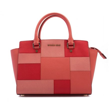 Selma Medium Top Zip Satchel Leather - Colorblock Pink Grapefruit - 30S6GLMS2U-665 (Medium Pink Leather)