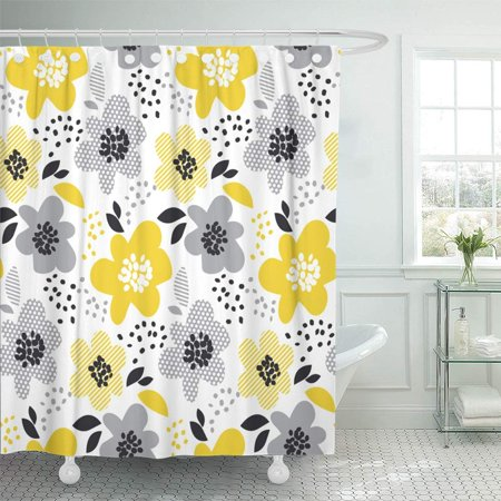 KSADK Beige Gray and Yellow Floral Contemporary Spring with Abstract Flowers Modern Shower Curtain Bath Curtain 60x72 inch