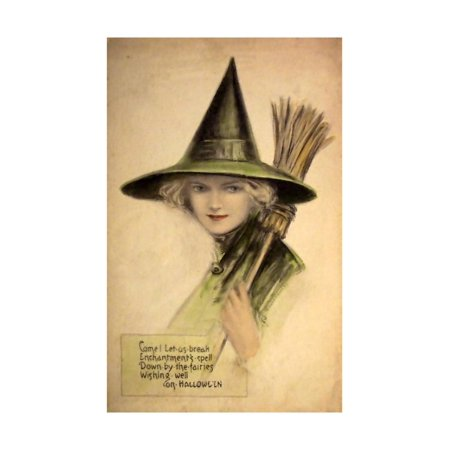 Halloween Beautiful Green Witch Print Wall Art By Vintage Apple Collection](Vintage Halloween Photos For Sale)