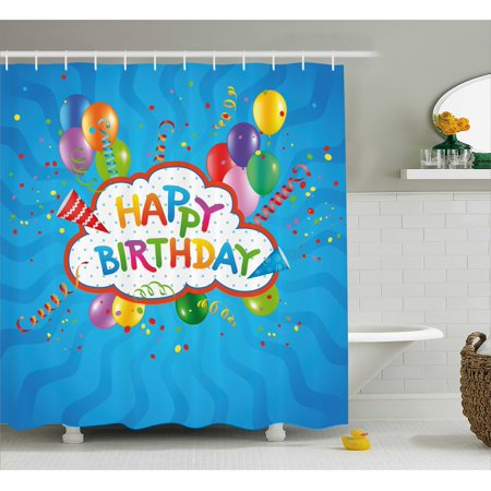 Birthday Decorations Shower Curtain, Wavy Blue Backdrop with Greeting Text Party Hats Confetti Best Wishes, Fabric Bathroom Set with Hooks, 69W X 70L Inches, Multicolor, by