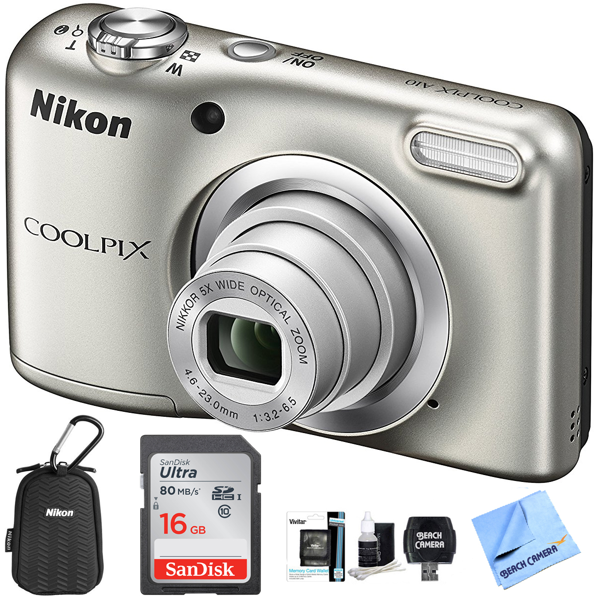 Nikon COOLPIX A10 Digital Camera 16.1MP 5x Zoom NIKKOR Glass Lens - Silver with 16GB Memory Card All Weather Sport Case Bundle (Certified Refurbished)