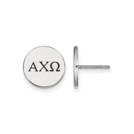 Chi Omega Block - 925 Rhodium Flashed Silver Black Enamel Alpha Chi Omega Button Earrings