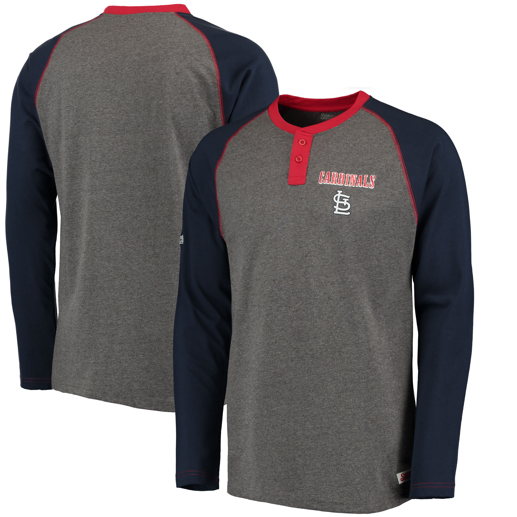 Men's Stitches Heathered Gray/Navy St. Louis Cardinals Home Run Long Sleeve Henley T-Shirt