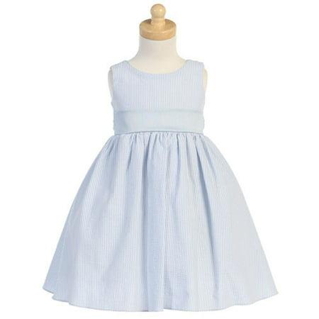 Baby Toddler Girl Light Blue Seersucker Stripe Easter Dress 6M-12