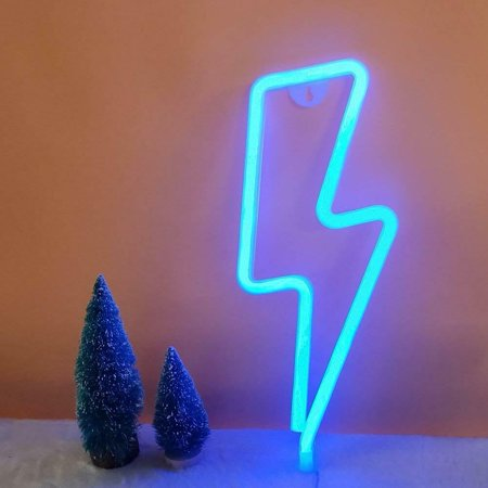 LED Neon Light Sign for Party Supplies Table Decorations, Seasonal Home Decor Children Kids Gifts Lightning Shape (Blue -