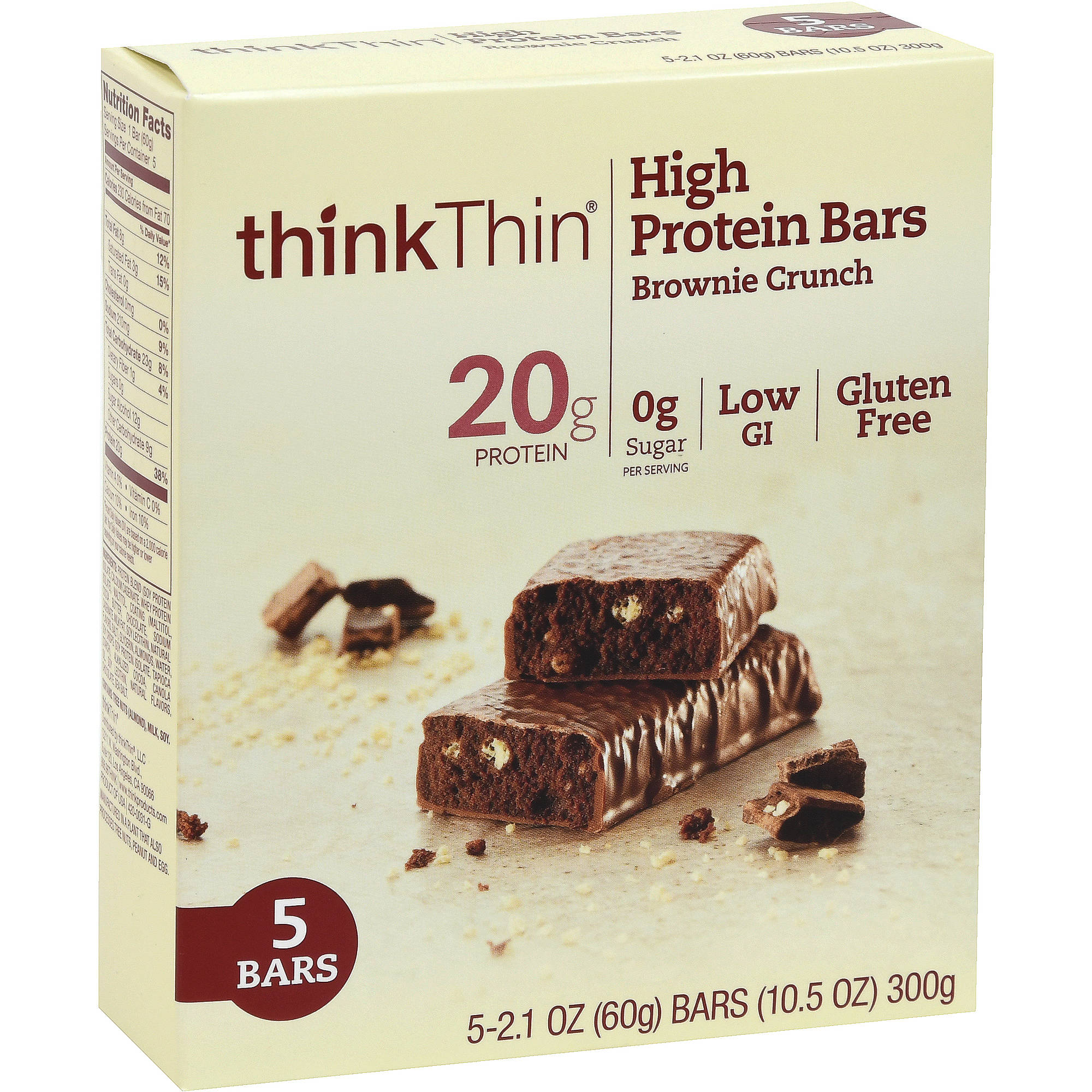 thinkThin Brownie Crunch High Protein Bars, 5 count, 10.5 oz