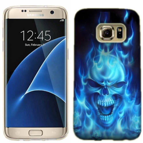 Mundaze Blue Flaming Skull Phone Case Cover for Samsung Galaxy S7 edge