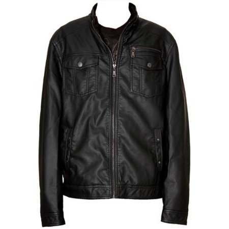 RNZ Premium Designer Men's Faux Leather Jacket - M2-Black-XL