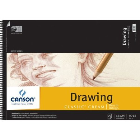 Canson 18-Inch by 24-Inch Classic Cream Drawing Paper Pad, -