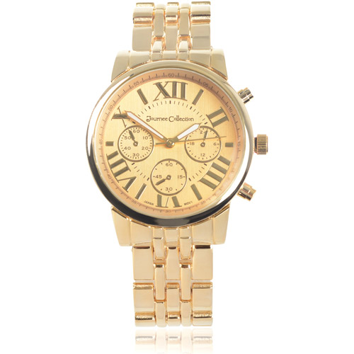 Journee Collection Women's Roman Numeral Metal Link Fashion Watch
