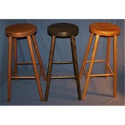 THE PUZZLE-MAN TOYS W-2471 Functional Wooden Furniture - Stool - Kitchen/Bar 4 Legged - 11 in. Dia. Seat & 29 in. Tall