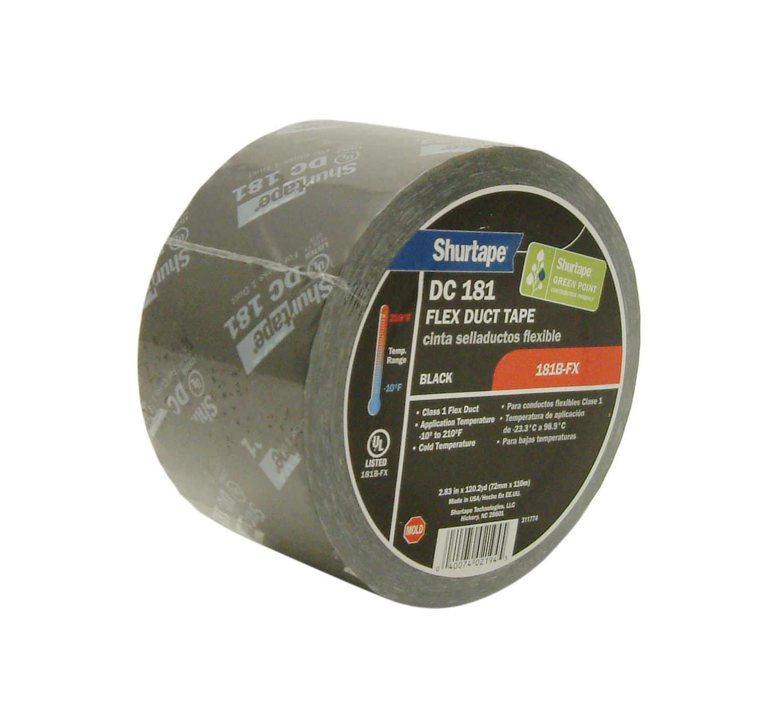 Shurtape DC-181 UL 181B-FX Listed Film Tape: 3 in. x 120 yds. (Black with White printing)