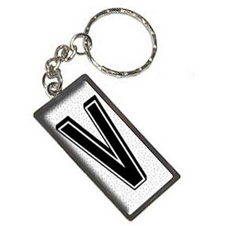 Letter V Initial Sprinkles Black White Keychain Key Chain Ring