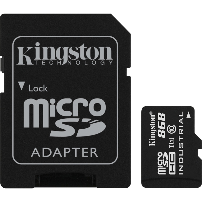 Kingston 8GB microSDHC UHS-I Class 10 Industrial Temp Card with SD Adapter