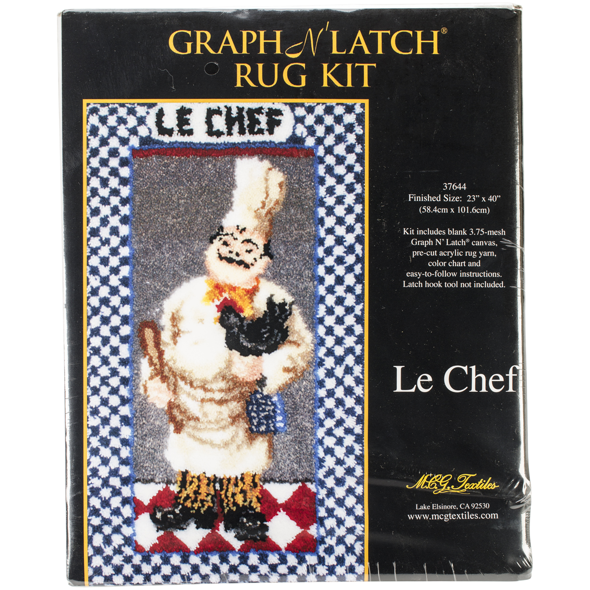 M C G Textiles Latch Hook Kit, 23-Inch by 40-Inch, Le Chef Multi-Colored