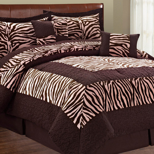 Lotus Pink Zebra Lotus Pink Safari Comforter 6pcs set King