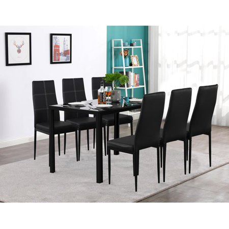 Zimtown New Modern 7 Pcs Dining Table Set With 6 Leather Chairs Kitchen Room (Oval Dining Room Table And 6 Chairs)