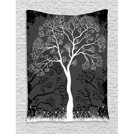 Tree Tapestry Wall Hanging Artistic Tree Illustration With Growing Branches Merry Seasonal Grass And Bushes Nature  Bedroom Living Room Dorm Decor  Brown White  By Ambesonne
