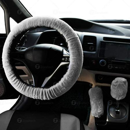 Zone Tech Gray Non slip Car Decoration Steering Wheel Handbrake Gear Shift Plush Cover   Auto Comfortable Thermal Steering Wheel (Cars With Gear Shift On Steering Wheel)