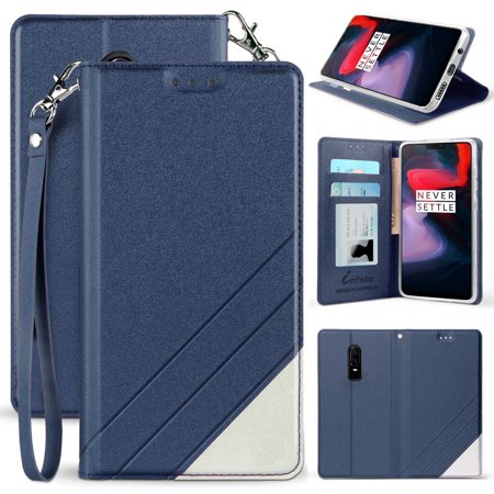 OnePlus 6 Wallet Case, New Infolio Wallet Credit Card Slot Cover, View Stand [with Wrist Strap Lanyard] for OnePlus 6 (A6000,A6003) ()