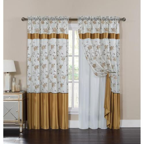 VCNY  Venice Embroidered Curtain Panel with Attached Valance and Backing