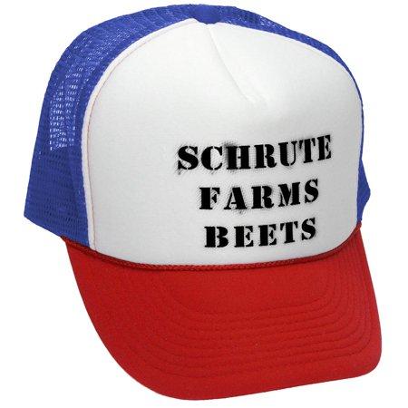 SCHRUTE FARMS - office beets tv funny show - Mesh Trucker Hat Cap, R-W-B - Farm Hats
