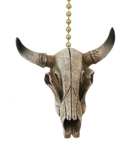 Western Steer Skull Cow Head Skeleton Resin Ceiling Fan