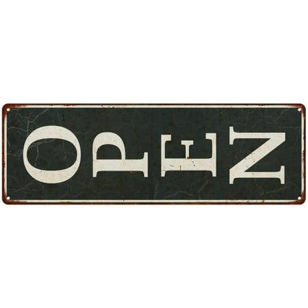 Vertical White on Black OPEN Sign Vintage Look Metal Sign 6x18 106180062009 ()
