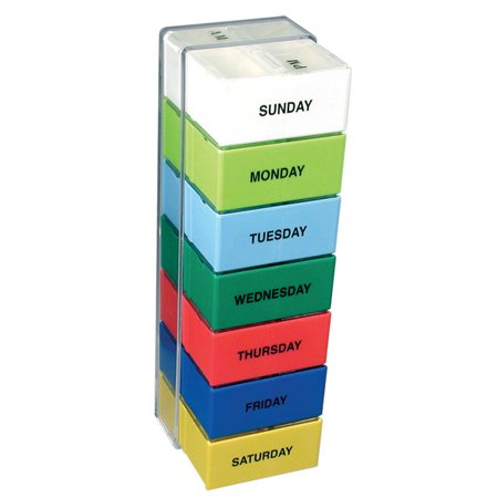 The 7 Day Color 2 Compartment Deep Capacity Pill Boxes