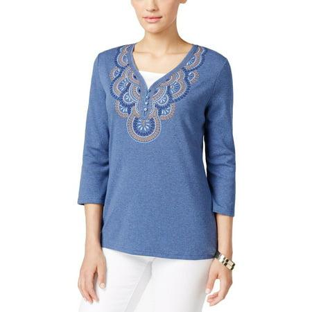 Karen Scott Womens Embroidered 3/4 Sleeves Pullover Top ()