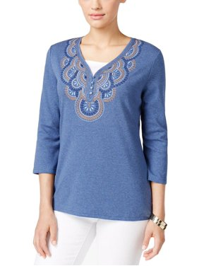 0c1125187f8f7 Product Image Karen Scott Womens Embroidered 3/4 Sleeves Pullover Top