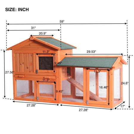 Rabbit Hutch for Backyards on Clearance, 54.5''X 17'' X 33.5'' Water Resistant Wood Bunny Cage with Non-Slip Timber Ridges, Raised Houses, Removable Tray & Ramp Chicken Nesting Box, (Best Water Resistant Wood)