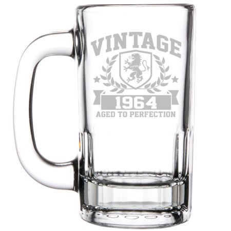 12oz Beer Mug Stein Glass 55th Birthday Vintage Aged To Perfection 1964
