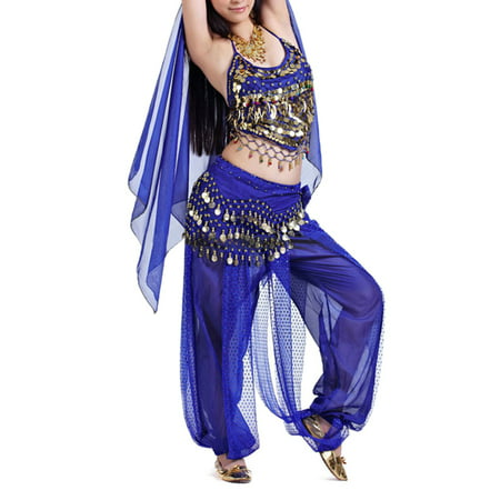 BellyLady Egyptian Belly Dance Costume, Halter Bra Top and Tribal Harem Pants-NavyBlue - Belly Dance Costume